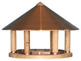 Esschert Design FB430 voedertafel eiken rond koperen dak