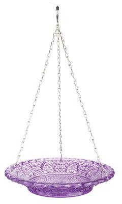 Esschert Design voederschaal ruitjesglas paars
