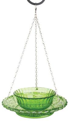 Esschert Design voederkom ruitjesglas groen