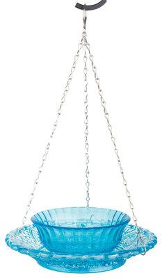 Esschert Design voederkom ruitjesglas blauw