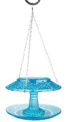 Esschert Design voederhuis ruitjesglas blauw