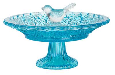 Esschert Design vogelbad ruitjesglas blauw