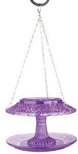Esschert Design vintage voederhuis ruitjesglas paars