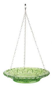 Esschert Design vintage voederschaal ruitjesglas groen