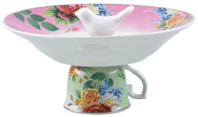 Esschert Design vogelbad theekop in giftbox roze
