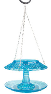 Esschert Design vintage voederhuis ruitjesglas blauw
