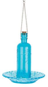 Esschert Design vintage voederfles ruitjesglas blauw